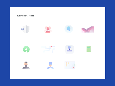 UI Kit Illustrations person shield stairs recruitment recruiter minimal illustrations ui kit uikit