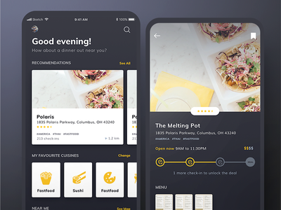 Dark UI Food App loyalty coupons deals ios mobile dark ui restaurants food