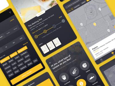 Dark UI - Food Deals App restaurant map tagging location based dark ui coupon food deals