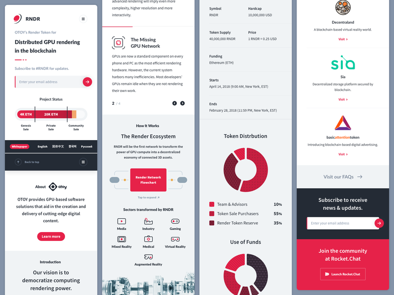 Render Token • Landing for mobile responsive mobile cryptocurrency crypto token iconography infographic dataviz charts visualizations fintech capital ui landing page