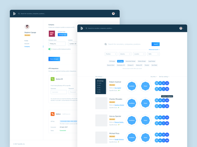 Inprofile • Search & Account integrations connect services serp search results search account design ui