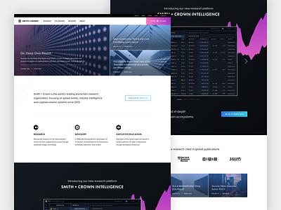 Smith + Crown • Research, Advisory, Education landing page advisory capital fintech cryptocurrency crypto branding dataviz ui design landing homepage