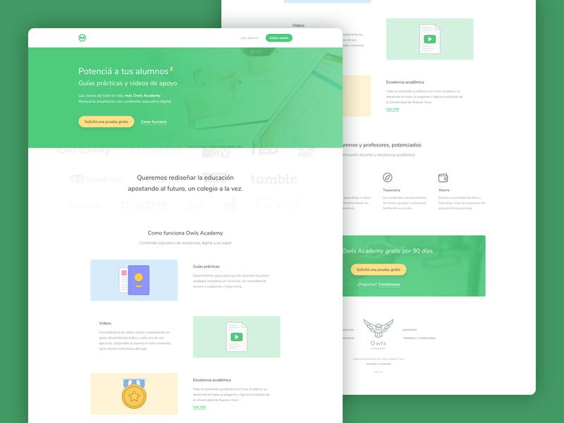 Owls Academy • Landing education app e-learning education typography branding design illustration illustrations ui landing page
