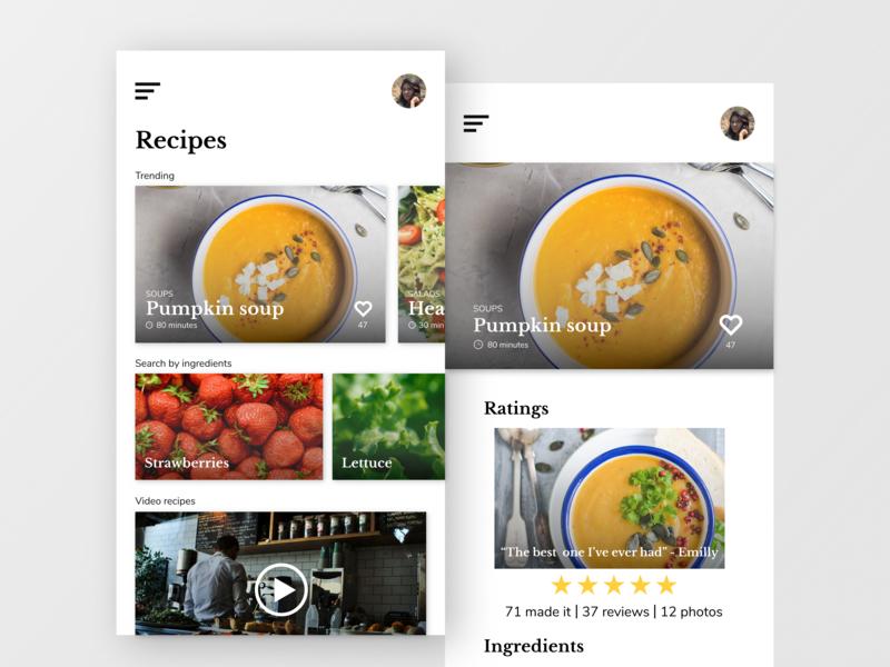 Daily UI #003 - Recipes app food ux recipes app ui daily ui 003 daily ui