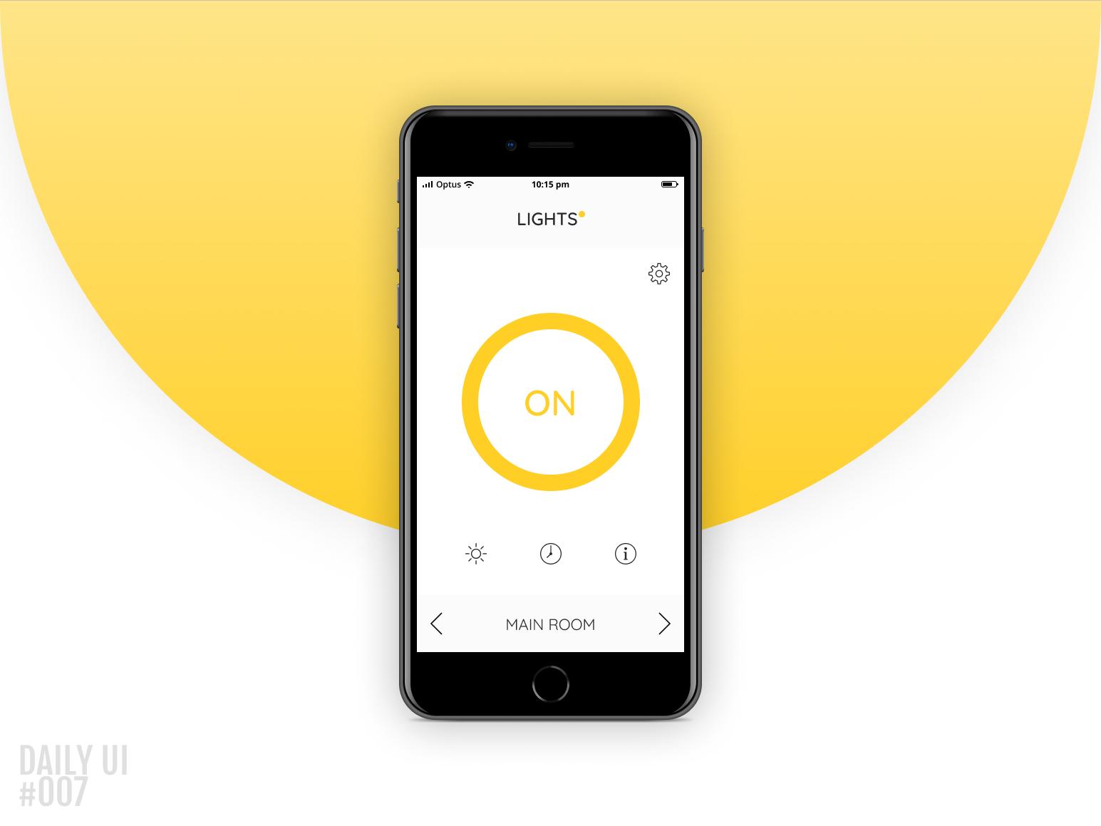 Settings - Daily UI #007 settings control lights app ui ux daily-ui daily 100 daily ui daily ui 007