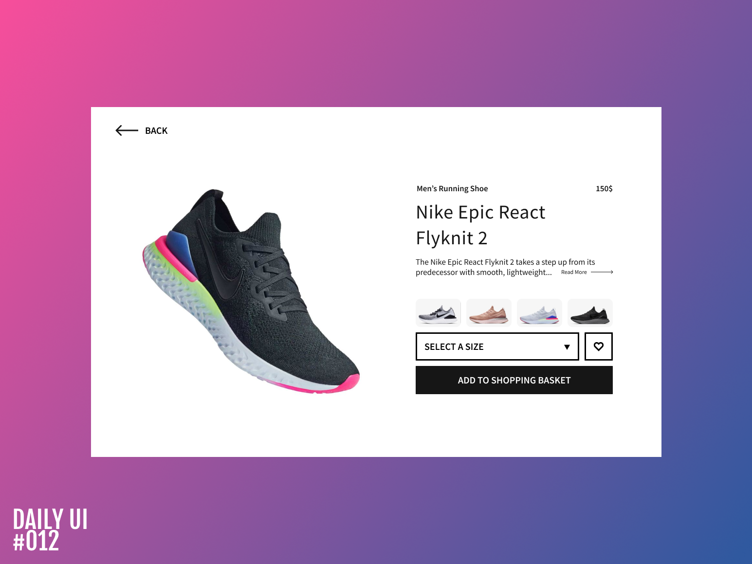 Product details (E-commerce) - Daily UI #012 ecomerce shop nike shoes daily daily ui 012 landing page daily 100 design daily-ui ux daily ui ui