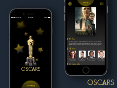 The Oscars 2016 gold award ui oscars movie mobile isoflow ios clean