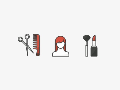 Salon Style lipstick wig scissors comb icon