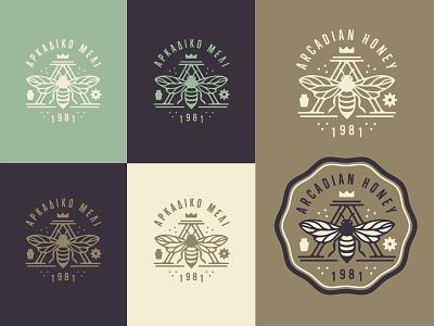 Arcadian Honey vintage flower bee logo honey greek branding