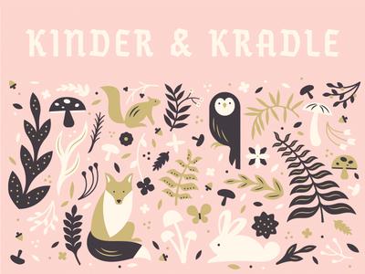 K&K pattern #1 cute children pattern german mushroom fox rabbit woodland owl flora fauna