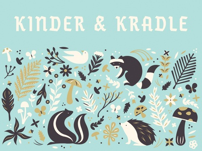 K&K Pattern #2 cute children pattern german mushroom skunk hedgehog raccoon woodland flora fauna
