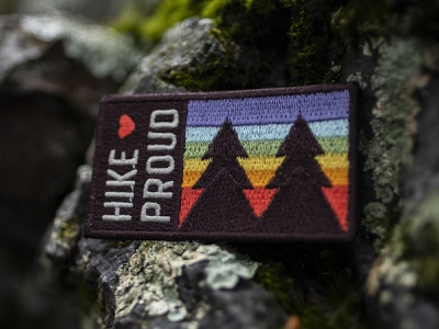 #HikeProud park badge hike hiking pride gay rainbow outdoors patch design patch