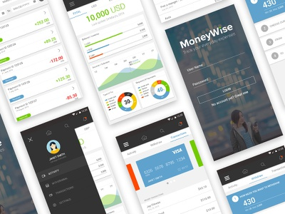 MoneyWise app login dashboard profile activity cards ux ui material financial android app