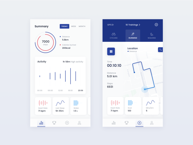 Fitness Tracker timer location path distance calories sleep activity tracker activity running fitness app sport app chart weeklyconcept clean app ux ui