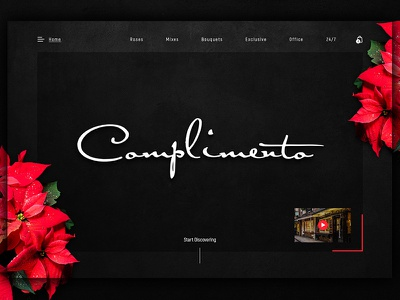 Complimento - Part of new simple Flowers Shop website web ux ui simple shop flower ecommerce design dark clean