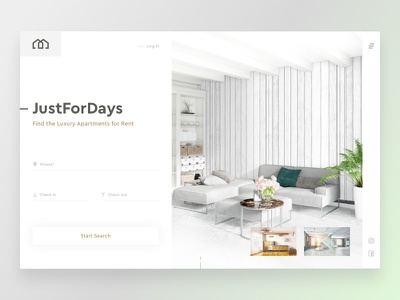JustForDays - Rent Apartments layout header booking concept dailyui white sketch web design minimal rent realestate website web ux ui simple flat design light clean