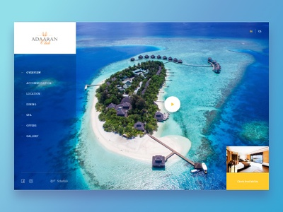 Adaaran Club Rannalhi - Redesign concept layout header hotel dailyui concept sketch minimal web design website web ux ui simple light flat design clean blue maldives adaaran