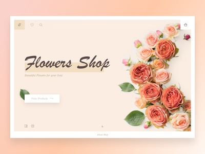 Flowers Shop - concept design sketch cream header concept dailyui minimal webdesign website web ux ui simple ecommerce shop light flower flat design clean