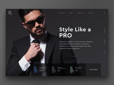 Tie Shop - ecommerce concept webdesign layout tie dailyui sketch header concept minimal website web ux ui simple shop flat fashion ecommerce design dark clean