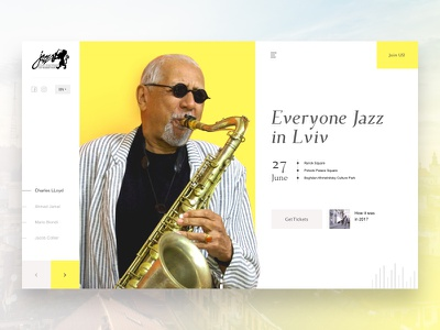 Leopolis Jazz Fest - website concept header yellow sketch dailyui minimal music concept web design festival jazz leopolis lviv website web ux ui simple flat design clean