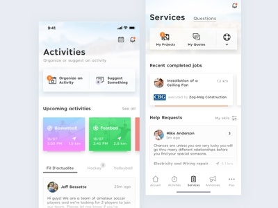 Cool-Dad - App redesign cooldad sketch white simple mobile web ux ui minimal ios flat design activities clean application app