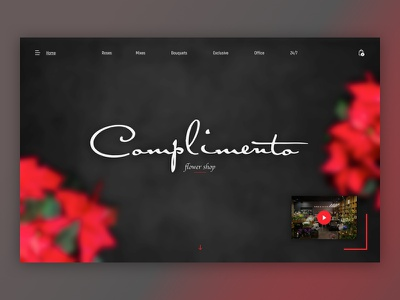 Complimento - Part of new simple Flowers Shop red header dailyui sketch web design minimal website web ux ui simple shop flower ecommerce design dark clean