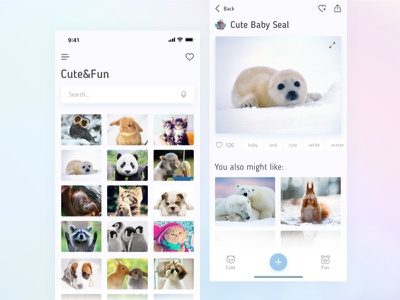 Cute&Fun Application v. 2.0 sketch white animal cute simple web ux ui mobile minimal ios flat design clean application app