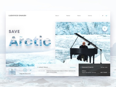 Ludovico Einaudi - website concept layout header dailyui sketch minimal web design simple ludovicoeinaudi white music flat arctic design clean website web ux ui