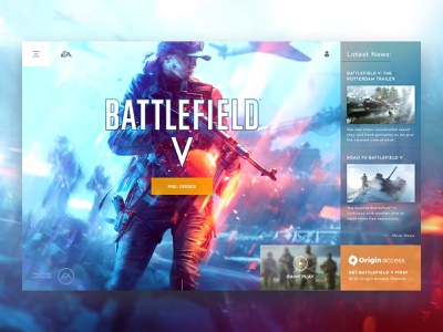 Battlefield V - website concept sketch minimal layout dailyui header webdesign simple shooter concept battlefield game design clean website web flat ux ui