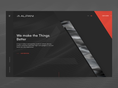 Alpani - Business Website modern black dark red business corporate carbon web design website sketch simple minimal web flat ui ux design clean