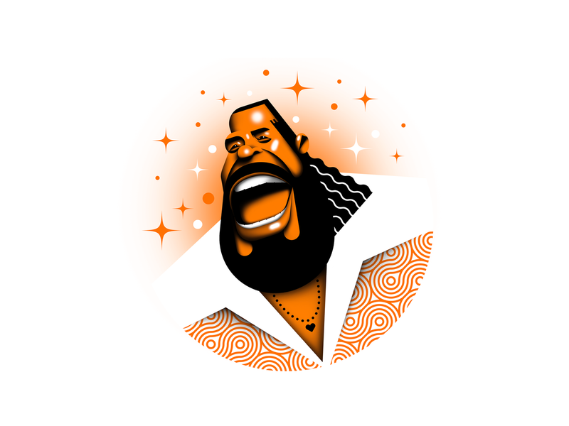 Barry White pattern music soul rb icon legend retro love barry white vector design illustration