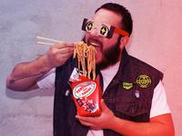 Gallo Yaki  Packaging bag noodles kawaii sugoi disruptive neon punk packaging logo branding design illustration
