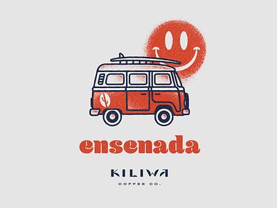 KILIWA Ensenada tshirt vintage sun beach happy face surf vw bus lettering vector branding design illustration