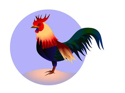 Red Junglefowl rooster gradients illustration bird animal animal art affinity designer