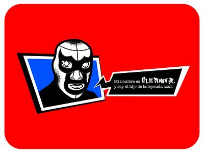 Blue Demon Jr.  •  P5 Edition luchador p5 brushes text box texture comic art persona 5 lucha libre wrestling gaming adobe photoshop affinity designer illustration