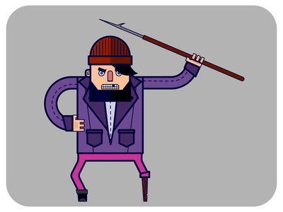 Angry Ahab • Hipster Edition hipster madeinaffinity affinity flat  design character art character ahab vector affinity designer illustration