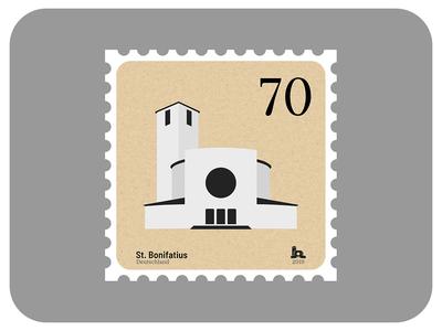 St. Bonifatius | Churches of Leipzig icon madeinaffinity church texture graphic design architecture stamp minimal vector affinity designer illustration