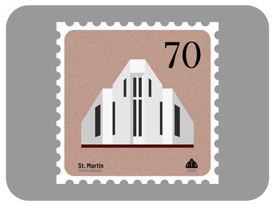 St. Martin | Churches of Leipzig minimal graphic design stamp icon architecture church design vector affinity designer illustration