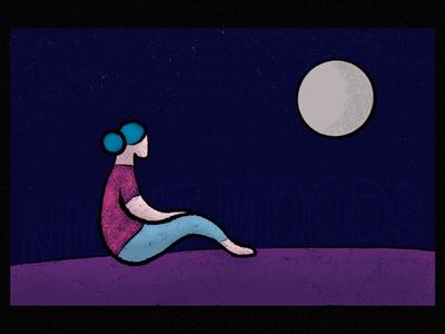Night Moods. typography miwei textures procreate illustration
