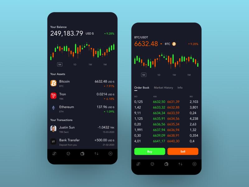 Crypto trading App dark ui ios app ux ui crypto wallet