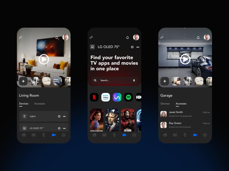 Smart Home App ios black ui ux smart home ui design app iphone minimal design dark ui dark app