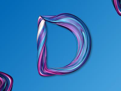 Letter D photoshop cinema4d colors design d letter pain 3d