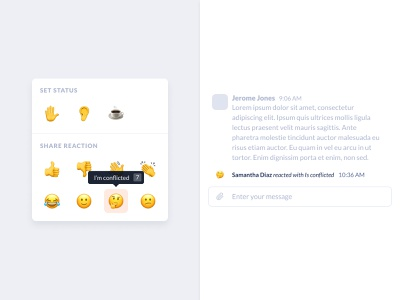 Emoji statuses and reactions meeting sentiment emotions react chat wfh home from work conferencing conference call video menu reactions status emoji