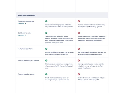 Product comparison page conferencing calls video meeting vs versus check table comparison chart comparison product