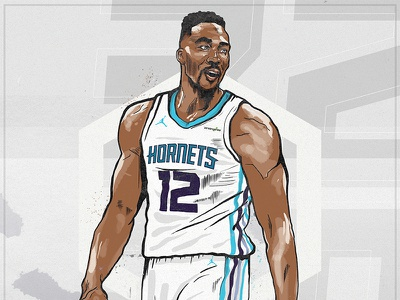 DWIGHT HOWARD basketball nike jordan charlotte hornets illustration nba howard dwight