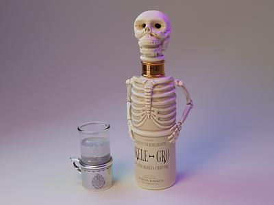 Skele-Gro digital art 3d art magic harry potter horgwarts cup diorama potion skull skeleton bone sculpture modeling blender 3d render illustration