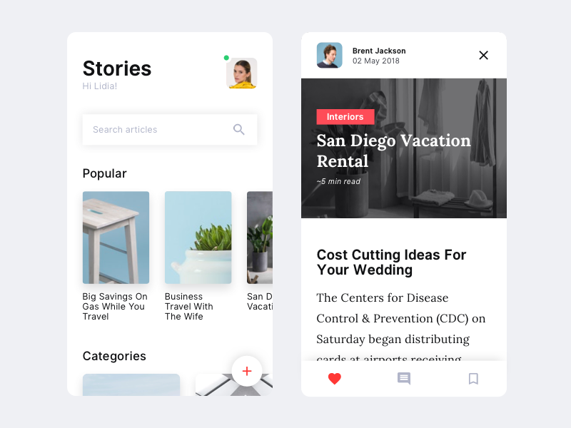Hello Dribbble - Stories #1 framer prototype first shot debut modern minimal clean article stories