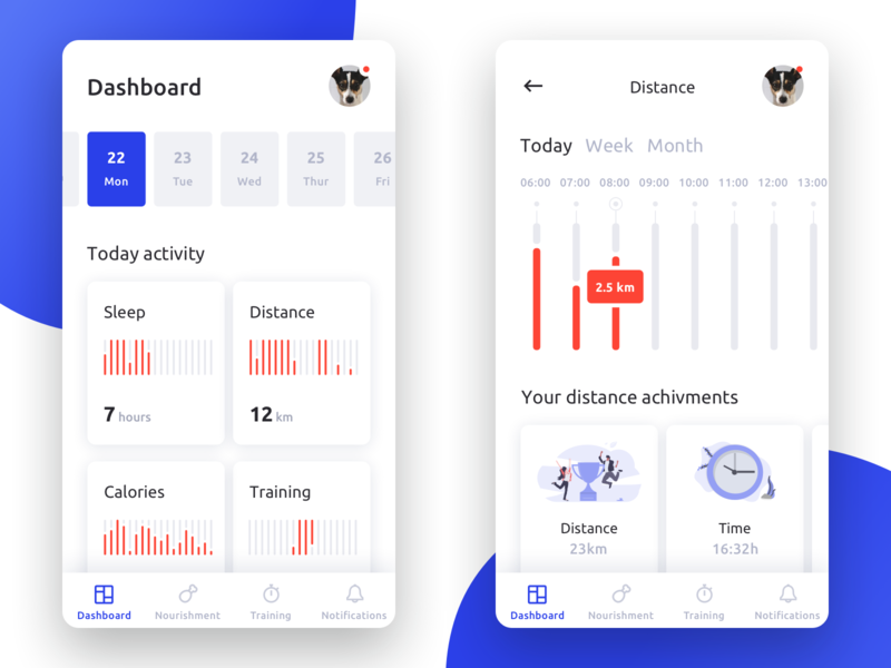Fitness Activity Tracker for Dogs #1 🐕🏃🏻♂️🏃🏻♀️ walking runners run distance dashboard interface ux ui ios fitness minimal mobile app data charts chart dog dogs tracker activity