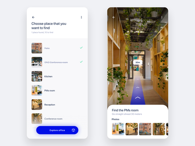 Onboarding App #1 👶🏻 reality augmented app modern mobile clean minimal office list navigation beacon augmented reality ar onboarding