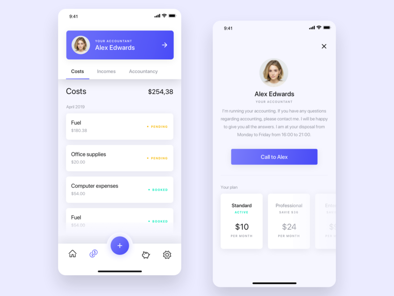 Invoices and accounting app concept 💰 costs contact plans accountant list profile accounting invoice app modern mobile clean minimal